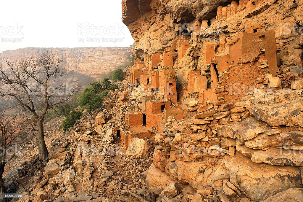 Ancient Dogon and Tellem houses stock photo