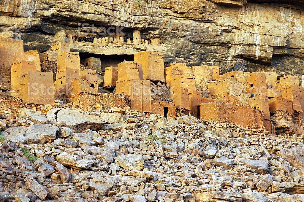 Ancient Dogon and Tellem houses with rocks 2 royalty-free stock photo