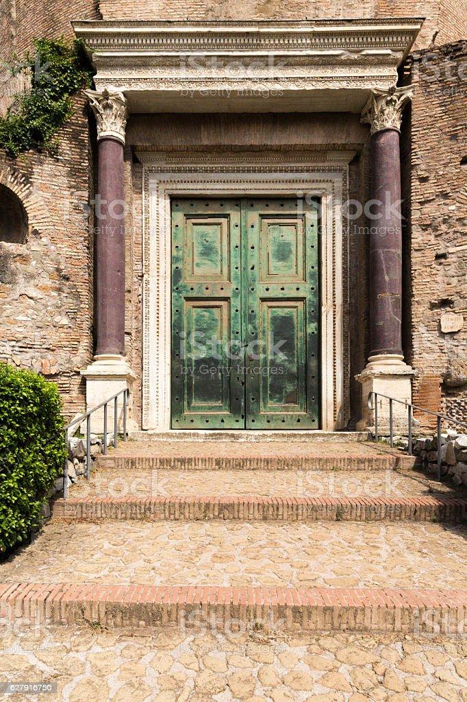 Ancient door in Rome stock photo