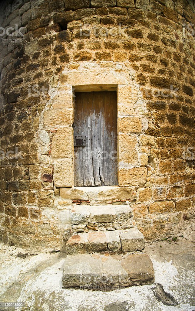 Ancient doorway and stone work, Begur, Spain. royalty-free stock photo