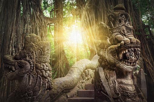 Ancient dragon sculptures on the bridge