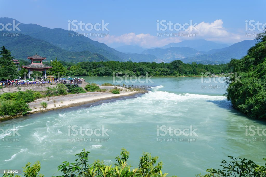 Ancient Dujiangyan irrigation system in Dujiangyan City, Sichuan province of  China. stock photo