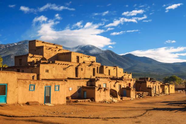 Ancient dwellings of Taos Pueblo, New Mexico stock photo