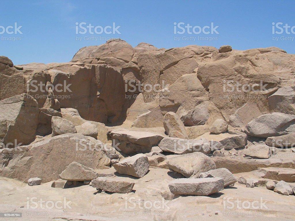 Ancient Egiptian Quarry in Aswan royalty-free stock photo