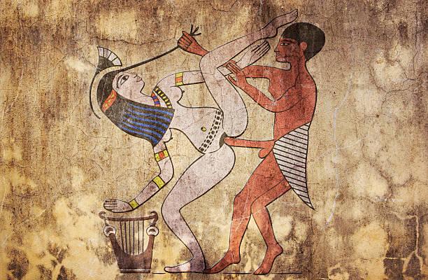 ancient Egypt - erotic drawing looks like fresco stock photo