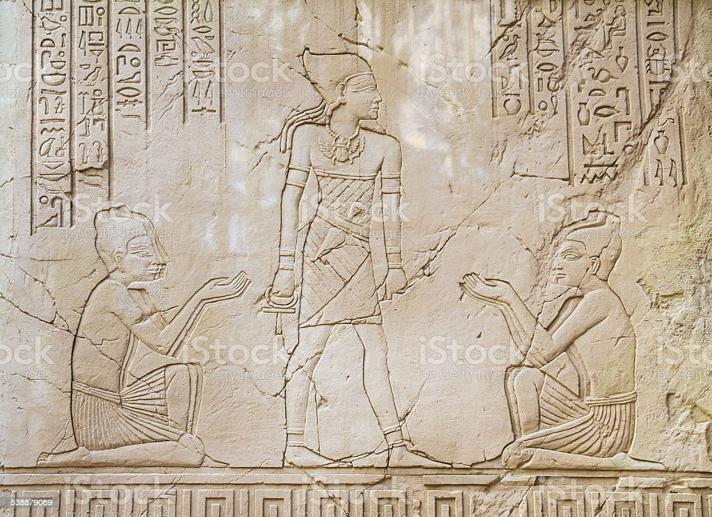 Ancient Egyptian Art Sunk relief Sculpture stock photo