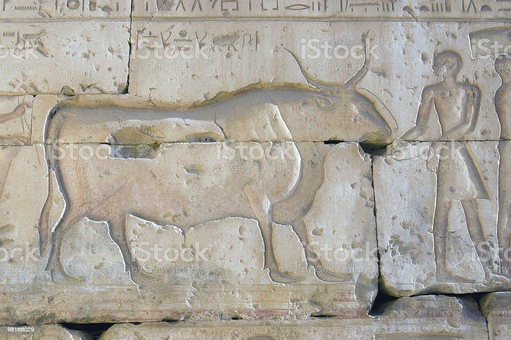 Ancient Egyptian Buffalo carving royalty-free stock photo