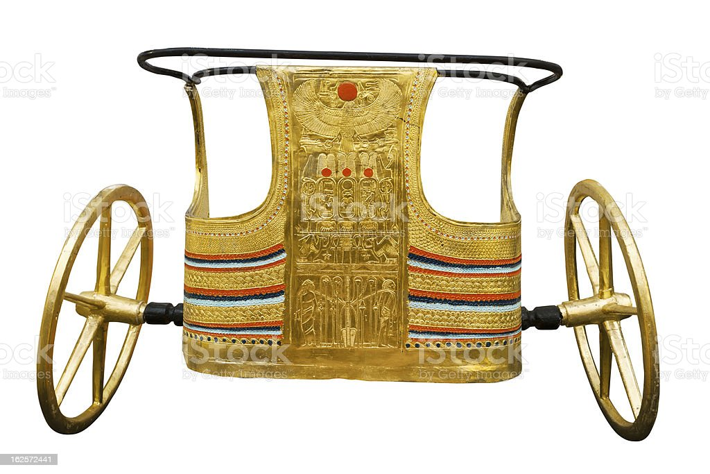 Ancient Egyptian ceremonial chariot on white stock photo