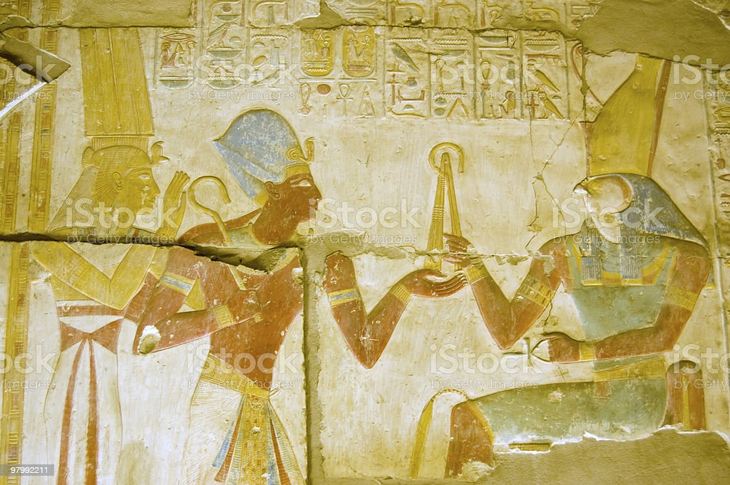 Ancient Egyptian god Horus with Seti and Isis stock photo