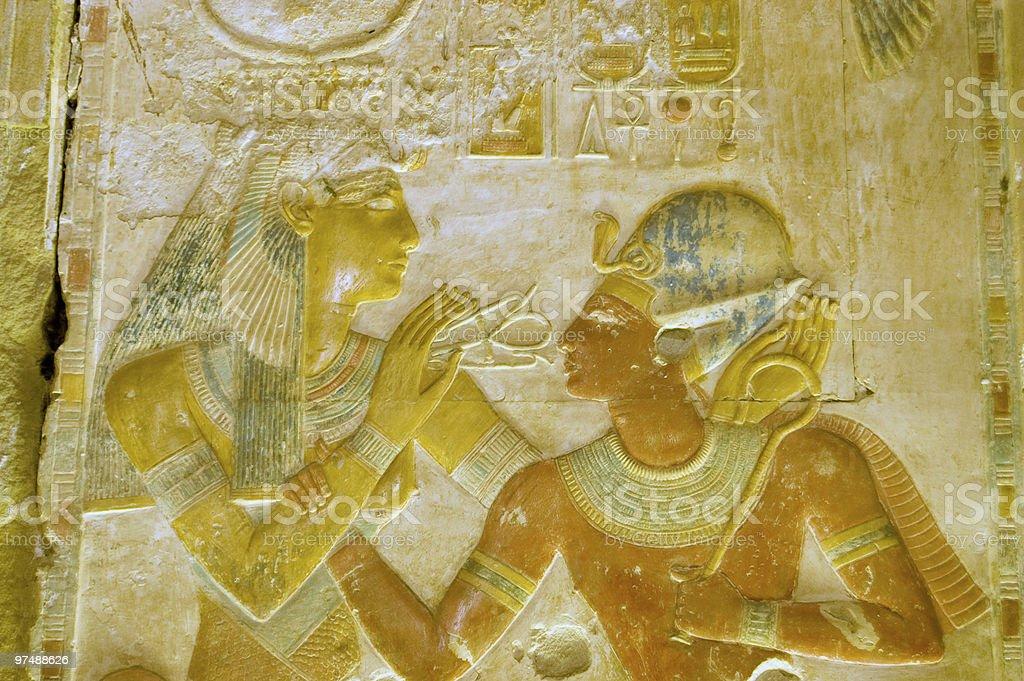 Ancient Egyptian goddess Hathor with Pharaoh Seti royalty-free stock photo