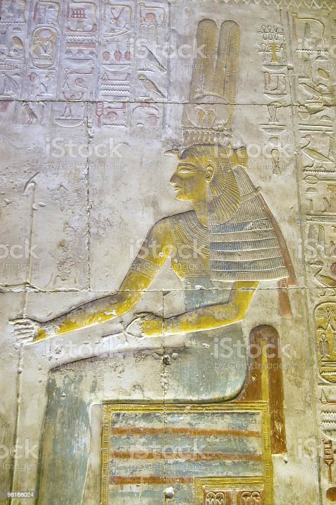 Ancient Egyptian Goddess Maat painting royalty-free stock photo