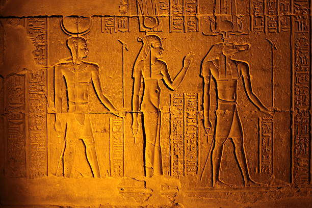 Ancient Egyptian hieroglyphics on a clay tablet stock photo