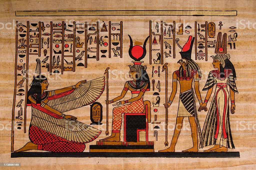 Ancient Egyptian Hieroglyphs On Papyrus Royalty Free Stock Photo