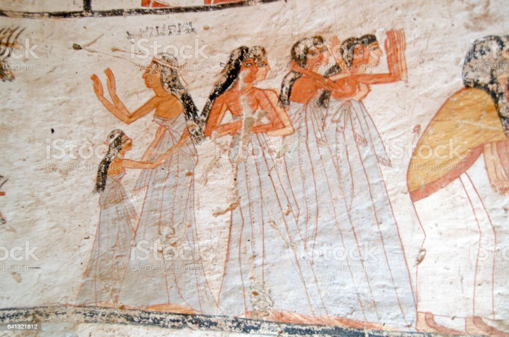 Ancient Egyptian mourners mural stock photo