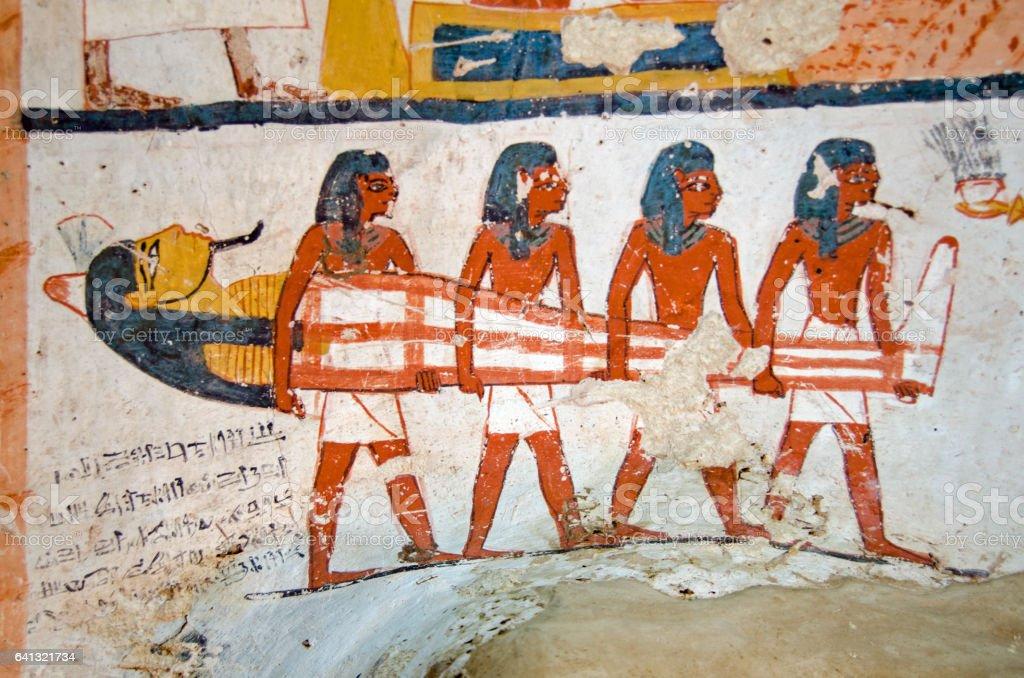 Ancient Egyptian Mummy mural stock photo
