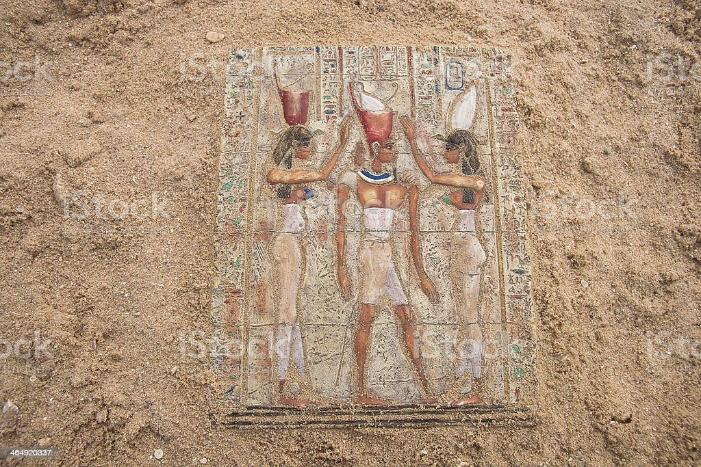 Ancient egyptian paintings on the stone plate stock photo