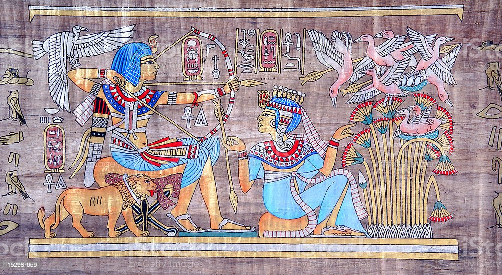 Ancient Egyptian papyrus stock photo