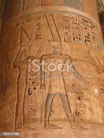 istock Ancient Egyptian Temple Column with Colored Art 182041799