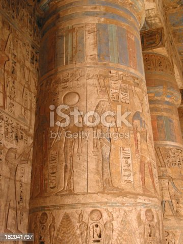 istock Ancient Egyptian Temple Columns with Colored Art 182041797