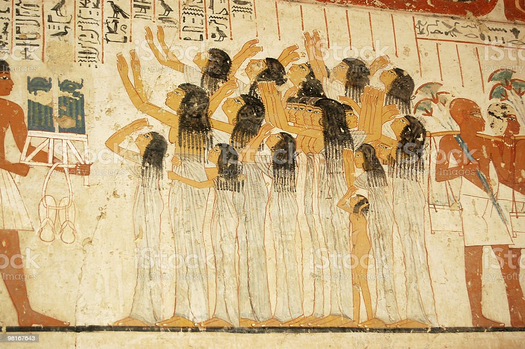 Ancient Egyptian tomb painting royalty-free stock photo