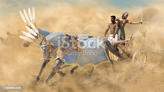 istock Ancient Egyptian war chariot in battle with archer and driver 1290890409