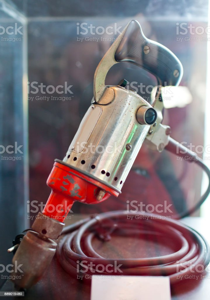 ancient electric drill stock photo