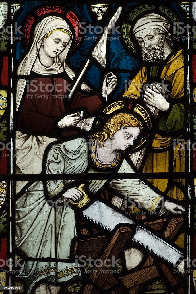 Ancient English Church Stained Glass stock photo