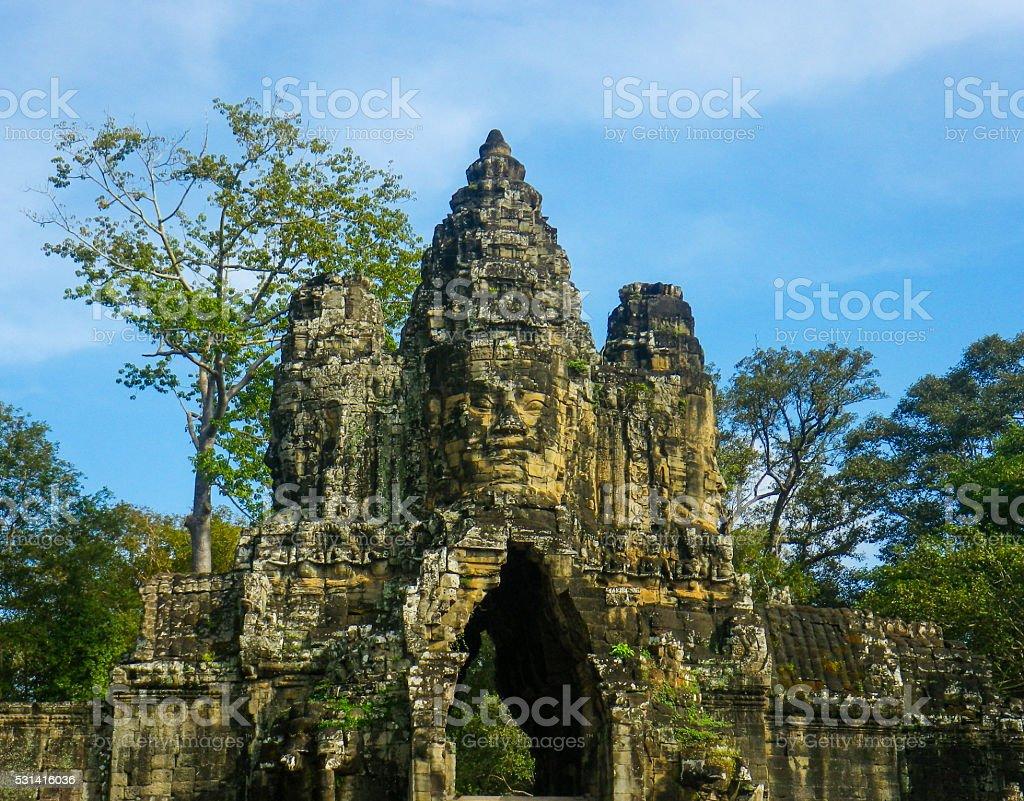 Ancient Entrance of Bayon Temple, Angkor Thom, Angkor Wat, Cambodia stock photo