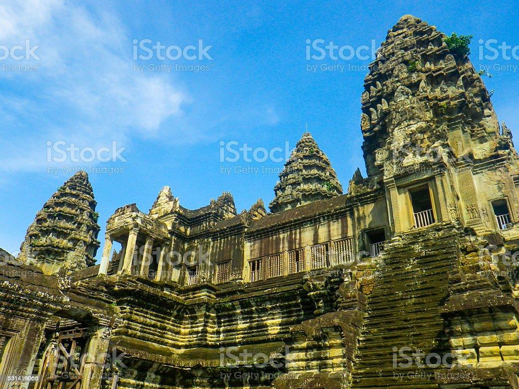 Ancient Entrance to Angkor Wat Temple, Cambodia stock photo