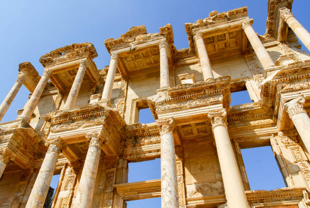Ancient Ephesus, Turkey Library of Celsus in the ancient city of Ephesus, Turkey. Ephesus is a UNESCO World Heritage site. ephesus stock pictures, royalty-free photos & images