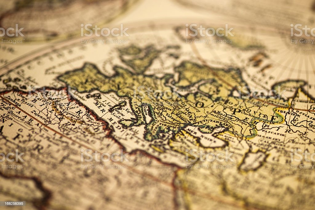 Ancient Europe World Map stock photo