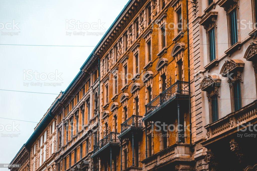 ancient facades of mediterranean buildings - foto stock