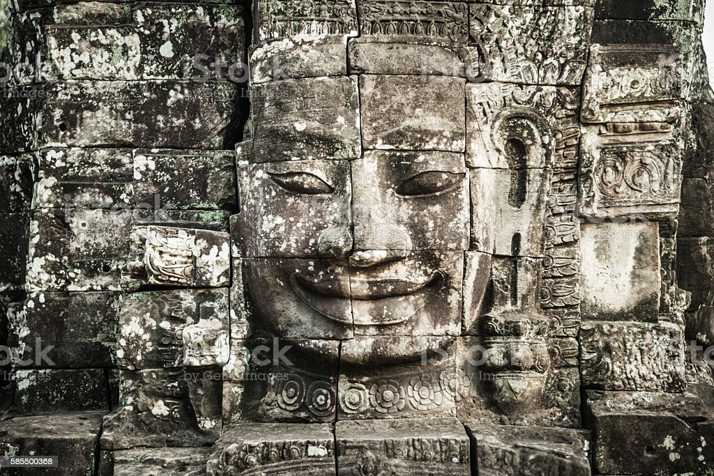 Ancient Faces of Bayon Temple, Angkor Thom, Angkor Wat, Cambodia stock photo