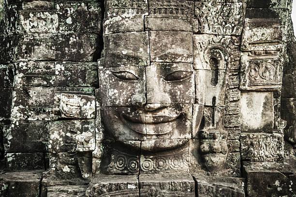 Alte Gesichter von Bayon-Tempel, Angkor Thom, Angkor Wat, Kambodscha – Foto