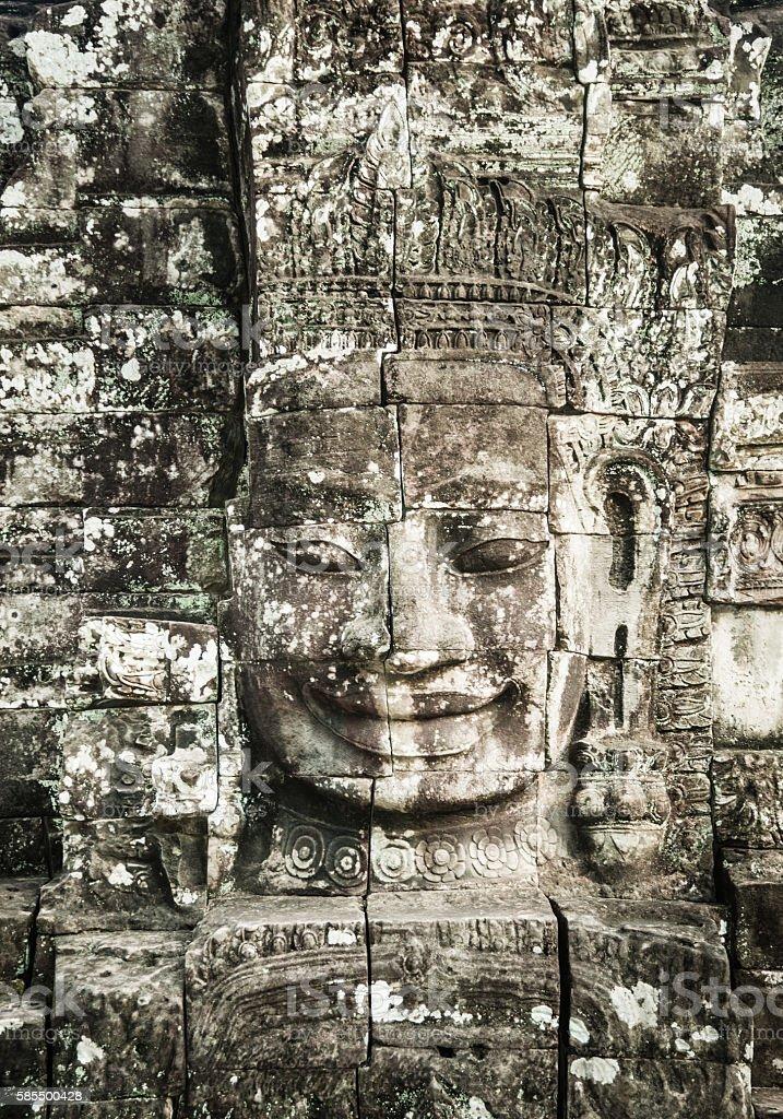 Ancient Faces of Bayon Temple, Angkor Thom, Angkor Wat, Cambodia stock photo