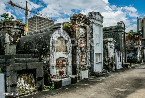 istock Ancient family crypt. Picturesque ancient cemetery of St. Louis, New Orleans, Louisiana, USA 820824164