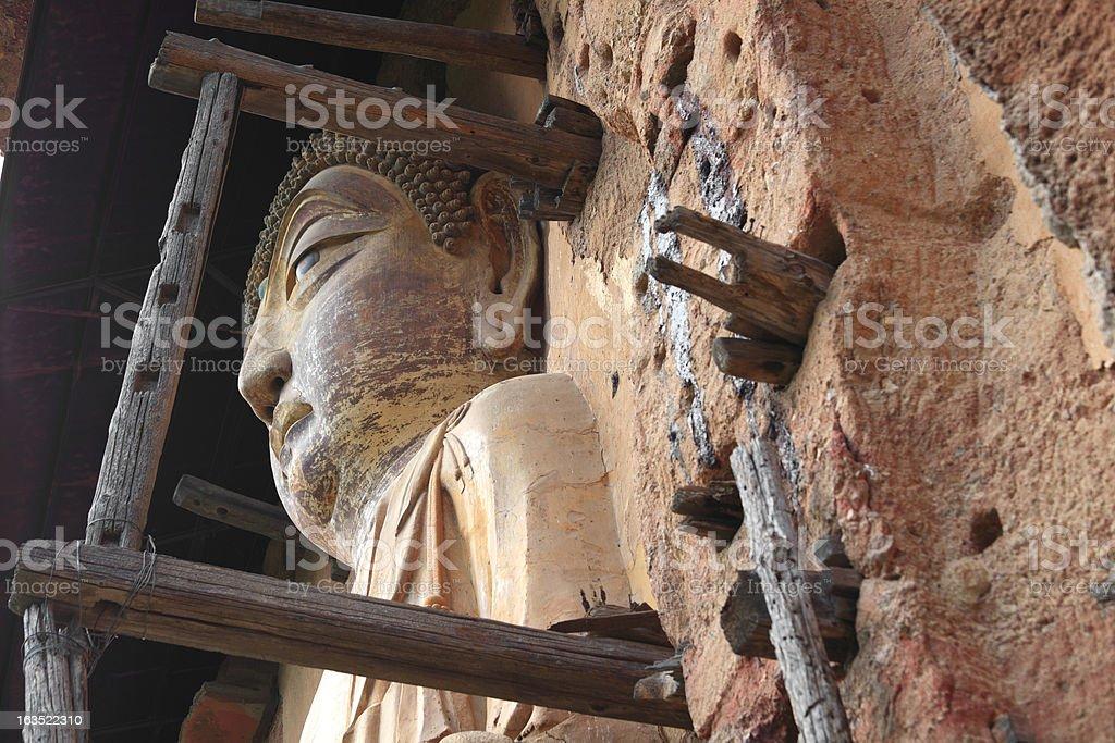 Ancient Famous buddha face of Maiji Mountain royalty-free stock photo