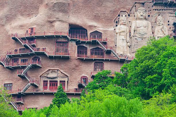 Ancient Famous buddha face of Maiji Mountain,Gansu,China stock photo