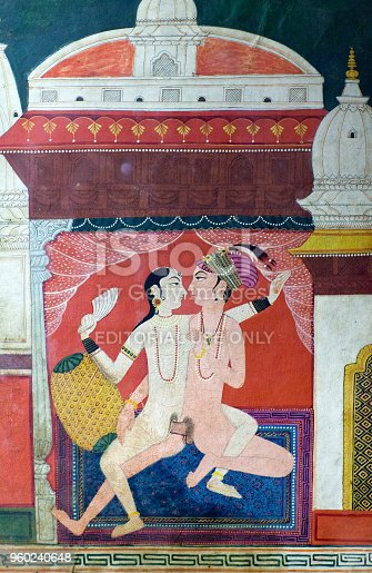 Bhaktapur, Nepal - January 23, 2017: Ancient famous erotic Nepalese painting on the wall of Royal palace at Durbar Square.