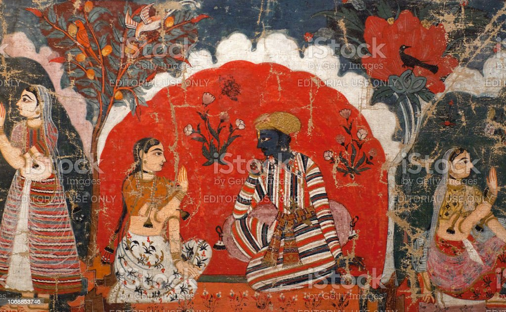 Ancient famous Nepalese painting stock photo
