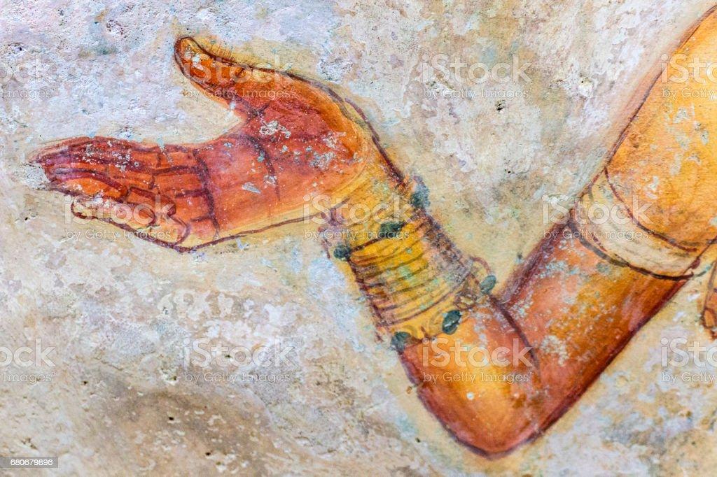Ancient famous wall paintings (frescoes) at Sigirya Sri Lanka stock photo