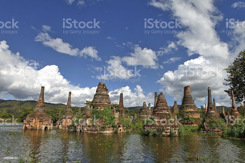 Ancient flooded pagodas near Samkar, Myanmar royalty-free stock photo