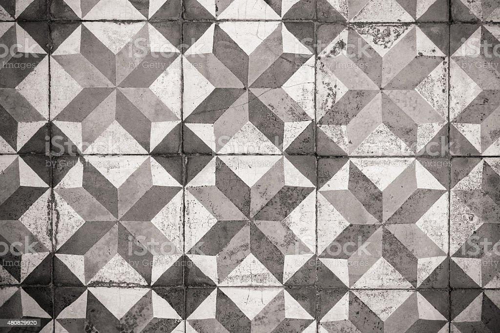 Ancient floor tiles in gray tone stock photo