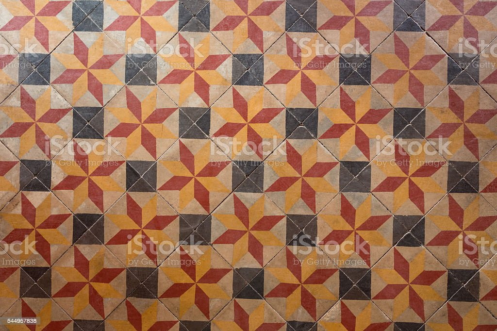 Ancient floor tiles stock photo