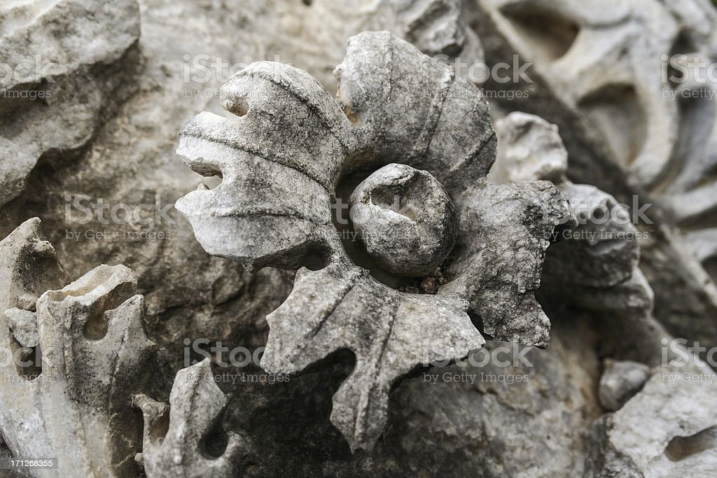 ancient flower in marble royalty-free stock photo