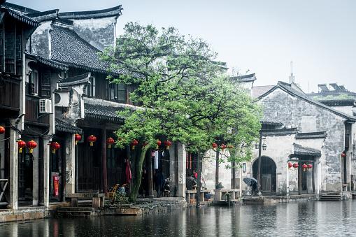 Ancient folk houses along river, Nanxun ancient town, China