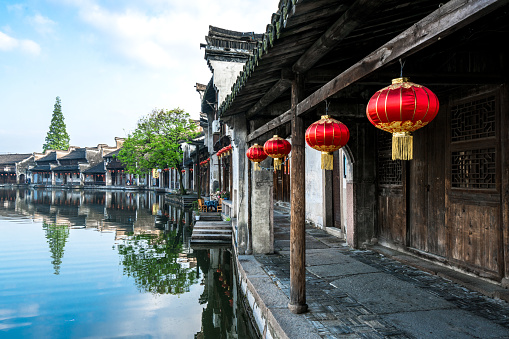 Ancient folk houses along river, Nanxun ancient town, China