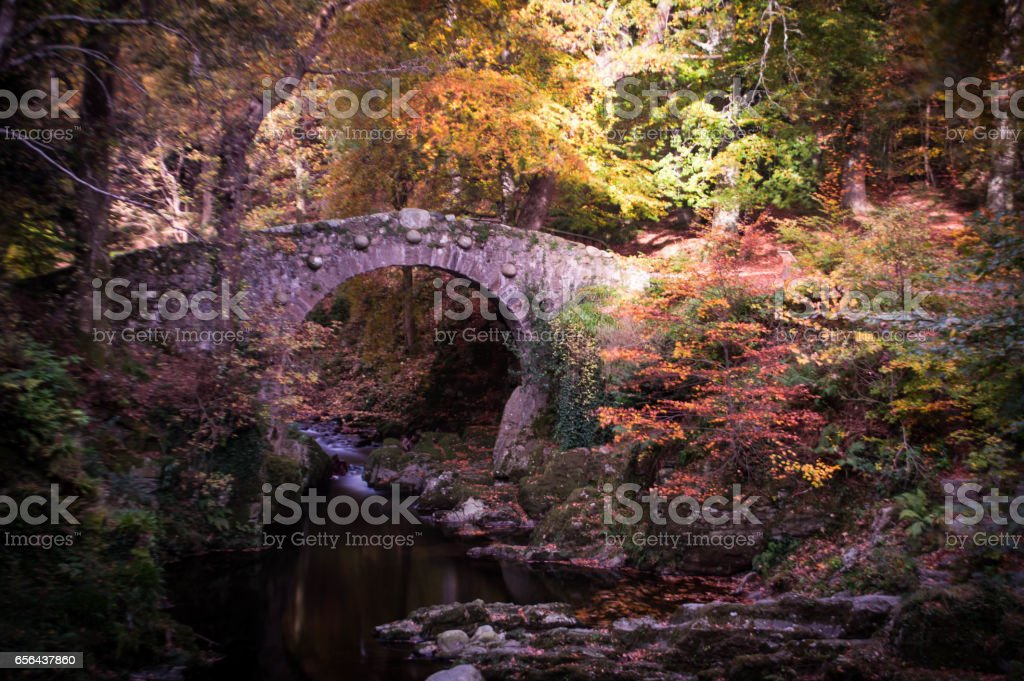 Ancient footbridge in an Autumn landscape stock photo