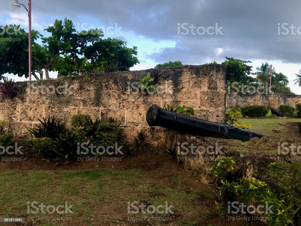 Ancient Fort Milford ruins with cannons near Pigeon Point Beach on the Caribbean island of Tobago stock photo