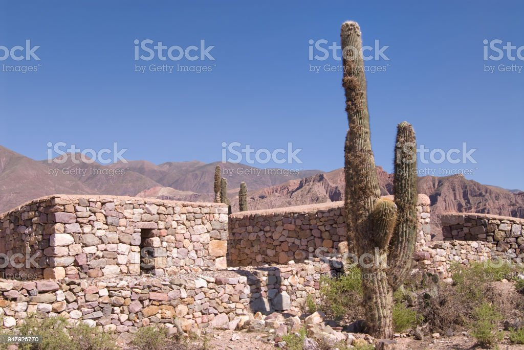Ancient Fortified Citadel in Tilcara, Northern Argentina stock photo